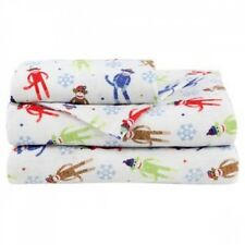 SOCK MONKEY Blue FLANNEL FULL Sheet Set NEW 4pc Set Winter Red White