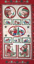 """Christmas Fabric - Be Merry Teddy Bear Wallhanging Red - Marcus Bros 23"""" Panel"""