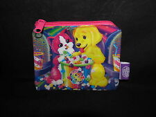 "Vintage Lisa Frank Fresh Popcorn Pouch Zipper Coin Card Wallet Dog Cat 5"" Case"