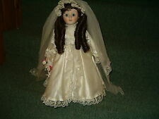 "Vintage Bride 18"" Doll In Poofy Wedding Dress Girls Womans With Stand"