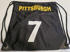 """Pittsburgh #7 Black Drawstring Backpack Tote Workout Exercise Bag   15"""" x 16"""""""