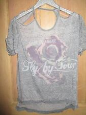 NEW✿ We The Free People S Tunic SHIRT TANK CAMI TOP Strappy Cut Out Grey Rose