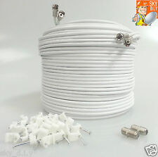 10M White Satellite Twin F Connector Sky + HD Extension Coax Cable Lead TV Wire