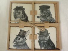 SET OF 4 VINTAGE LOOK DOG, CAT , RABBIT AND OWL HEAVY CERAMIC TILE COASTERS