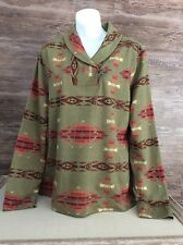 Chaps Womens Shawl Neck Pullover Sz XL Soft Cotton Tribal Aztec