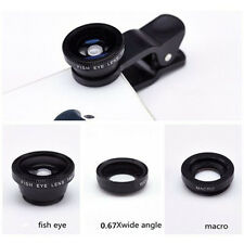 3in1 Fisheye Wide Angle + Macro Camera Clip on Lens For iPhone Samsung(Black)
