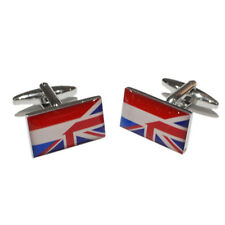 Union Jack Mixed with Netherlands Flag Cufflinks & Gift Pouch
