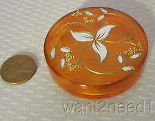 art deco CLEAR AMBER CELLULOID VANITY BOX floral inlay rhinestones MADE FRANCE