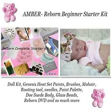 REBORN Starter Beginner Kit, Genesis paints, Mohair, DVD, DOLL KIT- AMBER