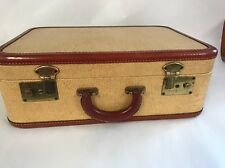 Vintage Brown Leather And Rattan Train Suitcase 18 X 12.5 X 6.5