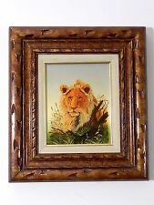 "Vintage Original Signed Oil on Canvas Painting by CASANDRA African Lion 16""x18"""