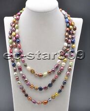 """P6220 60"""" 9mm Baroque Multicolor Freshwater Cultured Pearl Necklace"""