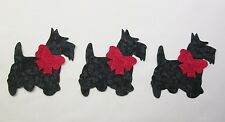 Set of 3 Scottie Terrier Dog w/Bows Cotton Fabric Appliques Quilting & Clothing