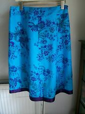 "100% Linen Turquoise/Purple Skirt, Size 16, Length 27"", M&S, BNWT"