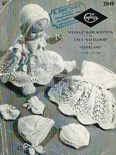 "Dolls Clothes knitting pattern for 10"" -12"" doll. Laminated  copy.( V Doll 62)"