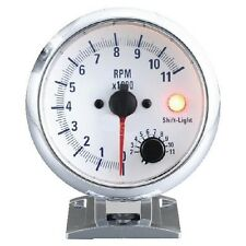 95mm 3 3/4 inches Tachometer 0-11000 RPM with shift-light (White Face)