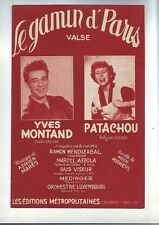 partition ancienne valse le gamin de paris - yves montand et patachou