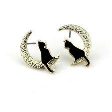 Boucles d`Oreilles Clous Doré Puces Chat Noir Lune Leger Mignon Animal NN1