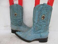 Los Gueritos Distressed Blue Alligator Print Western Cowboy Boots Size 25 Mexico