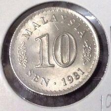 """MALAYSIA  10 sen coin DIE ROTATION Parliament series 1981 """"UNC""""  #2"""