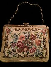 ANTIQUE VICTORIAN 1910's era Needle Point  Embroidered Tapestry Purse Handbag