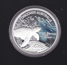 2006 Discover Australia 1 oz Silver Proof Coin Great Barrier Reef Sea Turtle