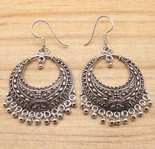 HANDMADE VINTAGE ART JEWELRY LARGE EARRINGS 2 1/4 Inches ! 925 Silver Plated
