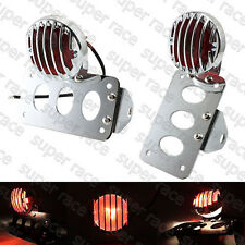 Chrome Side Mount License Plate Bracket Brake Tail light Grill Cover For Harley