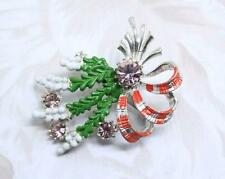 Beautiful Gift Scottish Exquisite Lucky White Heather Thistle Brooch Pin Enamel