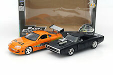 2-car Set Dom 's DODGE CHARGER R/T and Brian' s TOYOTA SUPRA NERO/ARANCIONE 1:24