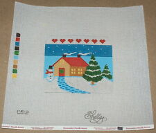 Shelly Tribbey Christmas Country Home w/ Snowman Handpainted Needlepoint Canvas
