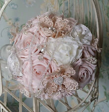 Brides Blush Dusty Pink Rose Vintage Pearl Diamante Wedding Bouquet Posy Flowers