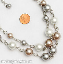 Chico's Signed Necklace Chunky Silver Tone Chains Pink Gray White Bead Accents