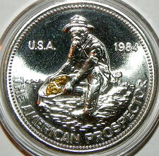 Engelhard Prospector 1oz Silver with Gold Nuggets From Porcupine Creek Alaska