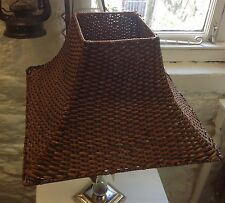 """STUNNING VINTAGE ORIENTAL LARGE SQUARE WOVEN WICKER LAMP SHADE 16"""" BASE"""