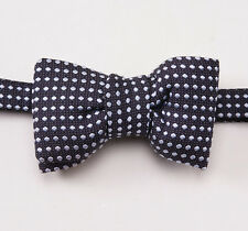 New $250 TOM FORD Navy-Ice Blue Dot Pattern Silk Bow Tie Bowtie Small Size
