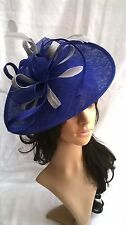 NEW SAPPHIRE & SILVER SINAMAY & FEATHER FASCINATOR.Shaped saucer disc,Wedding.