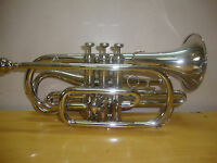 HIGH GRADE! NEW SILVER(CHROME PLATED) Bb ECHO CORNET+FREE HARD CASE+M/P