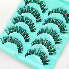 5 Paar Künstliche Falsche Wimpern Lang Schwarz  False Eyelash Kit Make Up L11