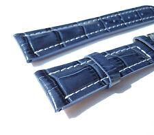 Kalbslederband, blau-Kroko, 20/18 speziell passend für Breitling-Dornschließen