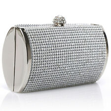 SILVER CRYSTAL DIAMANTE RHINESTONES LADIES PARTY EVENING CLUTCH BAG WEDDING PROM