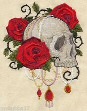 Gothic Glam SKULL SET OF 2 BATH HAND TOWELS EMBROIDERED BY LAURA