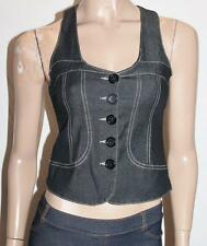 VALLEYGIRL Designer Black Button Front Fitted Denim Vest Size S NEW #TA61