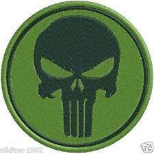Patch (chevron) Thermo with a skull Chastener khaki 9х9cm green background
