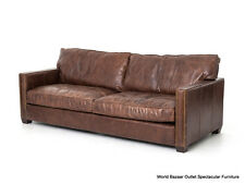 "88"" L Sofa Top Grain Leather Distressed Vintage Cigar Brown square bronze nails"