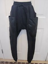 Urban Empire Black Sweat Pants Leather Side Pockets Hip Hop Dance Medium Adult