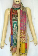 Vintage Long Scarf India Reversible Kantha Dupatta Pure Silk Fabric Patch Stole