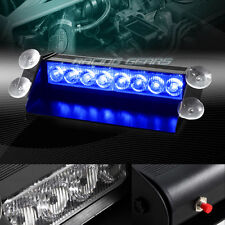 8 LED BLUE EMERGENCY CAR TRUCK SUV DASHBOARD WARNING FLASH STROBE LIGHT BAR