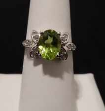 Size 7 Pretty Natural Peridot & White Topaz Sterling Silver Ring 2.07cts