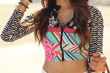 NWT Coco Rave Summer Patch Naya Cropped Swim Zip Rashguard Floral Top LS Small